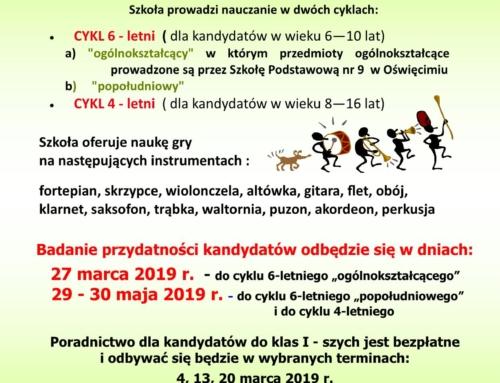 Nabór do szkoły muzycznej w Oświęcimiu