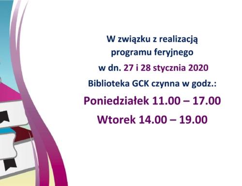 Godziny otwarcia biblioteki 27 i 28 stycznia (ferie)