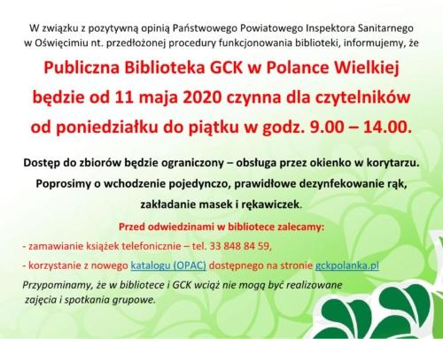 Biblioteka czynna (z ograniczeniami) od 11 maja