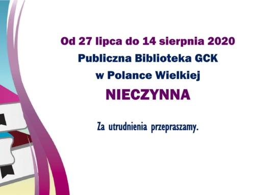 Od 27.07 do 14.08 biblioteka nieczynna