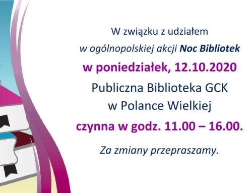 12.10 – Noc Bibliotek – biblioteka czynna do 16.00.