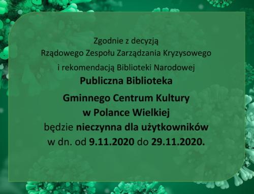 Biblioteka nieczynna do 29.11.2020