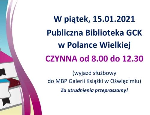 W piątek (15.01) biblioteka czynna do 12.30