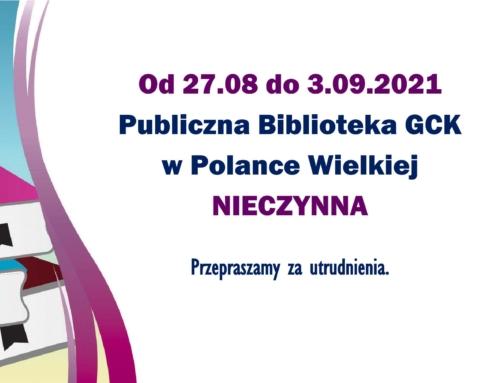 Od 27.08 do 3.09 biblioteka nieczynna